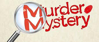 graphic of the words murder mystery with a magnifying glass