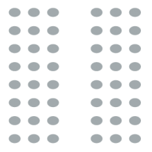 Auditorium room setup icon with two large sections of seating separated by a central aisle