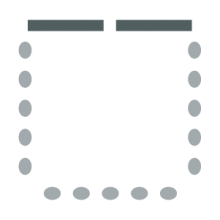 Room setup icon with chairs lined up against the walls