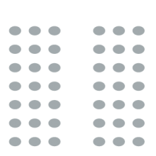 Room setup icon with two sections of seating with a central aisle in between