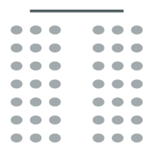 Room setup icon showing two sections of seating, central aisle in between, and a screen at the head of the room